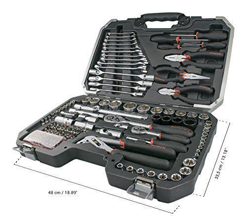 Coffret d'outils, mallette à outils, sets d'outils en chrome vanadium 124 pièces (tournevis, clés plates, cliquets, douilles, etc.):…