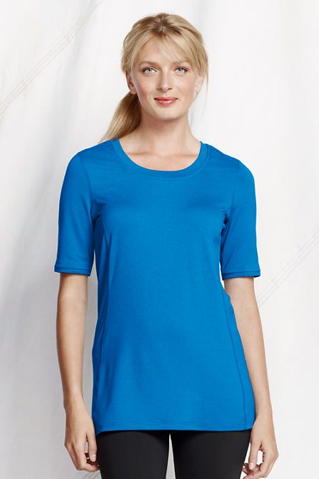 Women's Elbow Sleeve Solid Performance Tunic from Lands' End