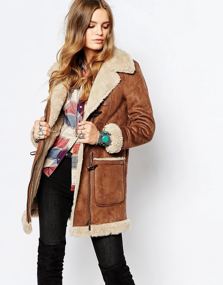 Image 1 ofPepe Jeans Vintage Look Shearling Coat