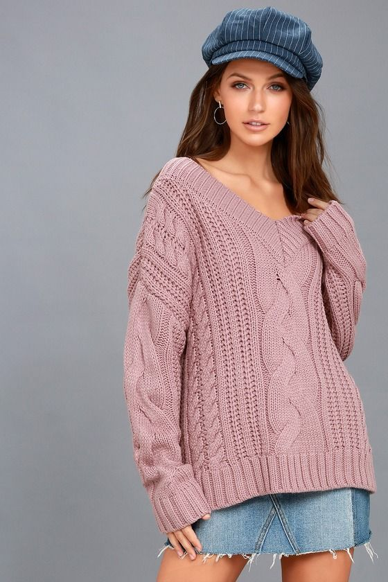 There is nothing better than getting bundled up in the Moon River Camp Cozy Mauve Pink Cable Knit Sweater! A chunky, cable knit sweater has long, drop sleeves, a ribbed V-neckline, and ribbed cuffs and hem.