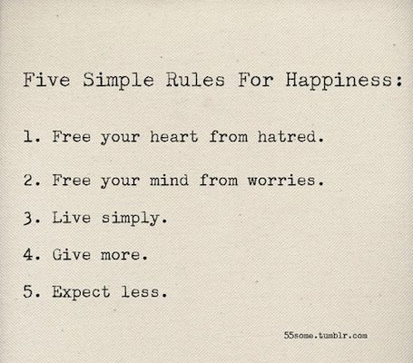 5 Simple Rules for Happiness: Remember, Stuff, Wise, Happy, Simple Rules, Wisdom, Truths, Inspiration Quotes, Simplerules