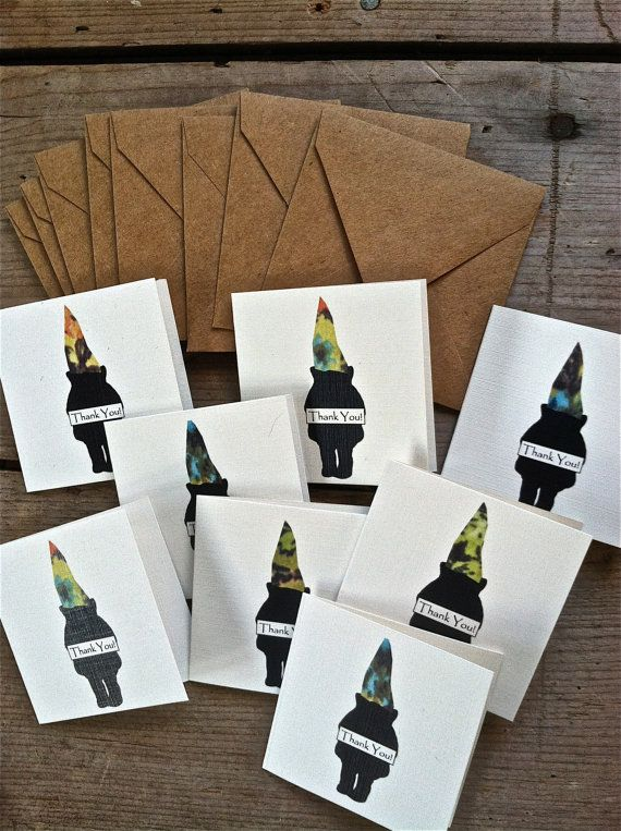 Mini Silhouette Gnome Thank You Greeting Card