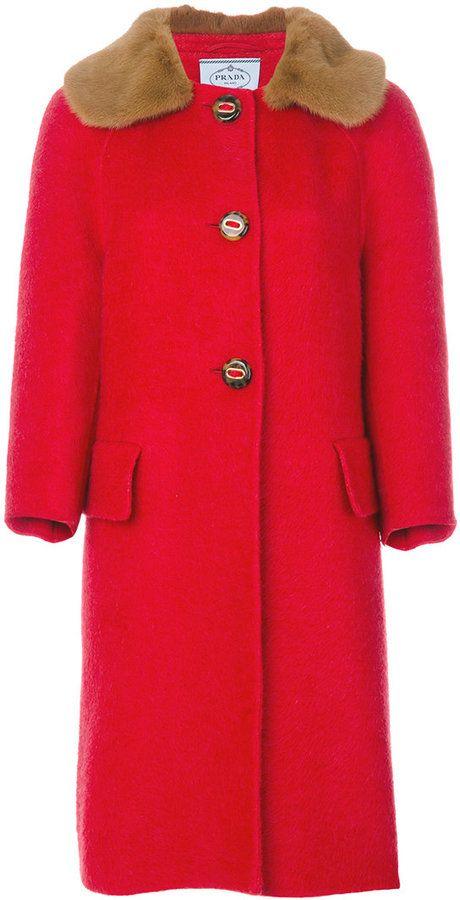 Prada cashmere fur collar coat