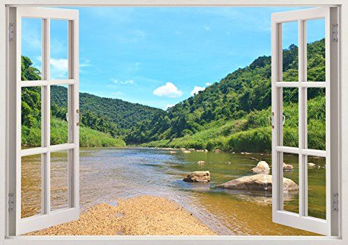 """Bomba-Deal 3D Huge Nature Outdoor Theme Vinyl Art Decal Stickers Removable Art Decals 33.5"""" x 47"""" Bomba-Deal http://www.amazon.com/dp/B00OHYPC7Q/ref=cm_sw_r_pi_dp_GfFpub1CQQB6S"""