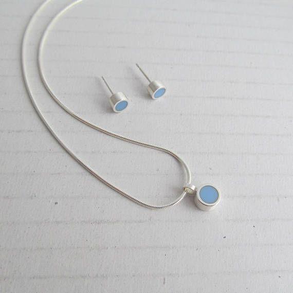 Tiny Sky Blue Dot Pendant and Studs