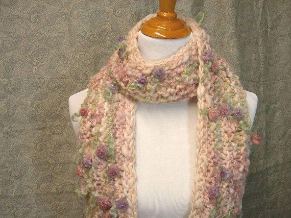 Soft Flowers Scarf from Handspun Art Yarn romantic by Autumnrose, $65.00