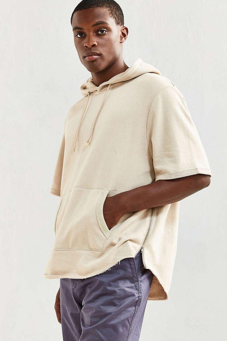 Feathers Scoop Short Sleeve Hoodie Sweatshirt