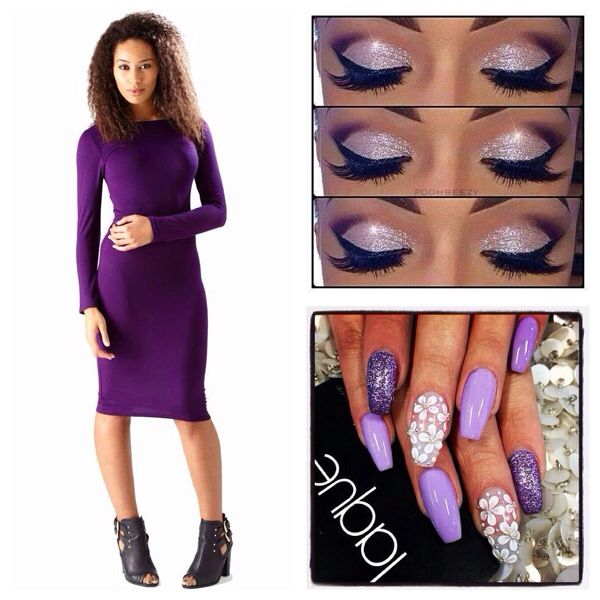 Purple Bodycon Midi Dress combo, we love this!
