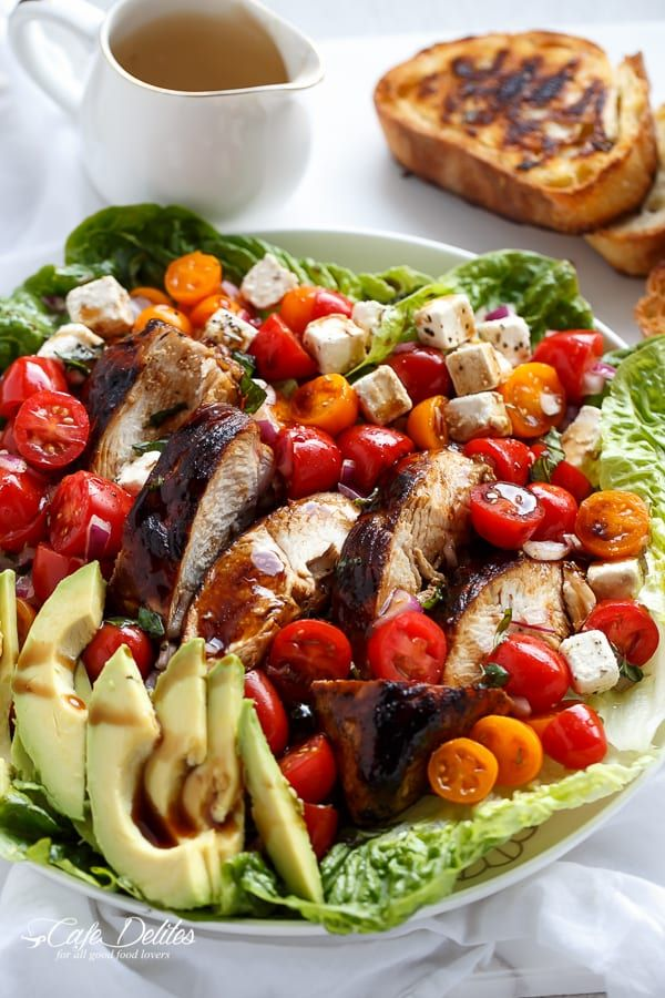 Turning Bruschetta into Salad. Grilled Balsamic Chicken and Avocado Bruschetta Salad.