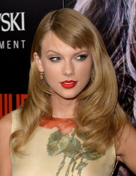 2014 Taylor Swift Long Hairstyles: Long Hair for Short Bangs The side swept blunt sultry neat fringe matches the amazing curls and waves greatly.