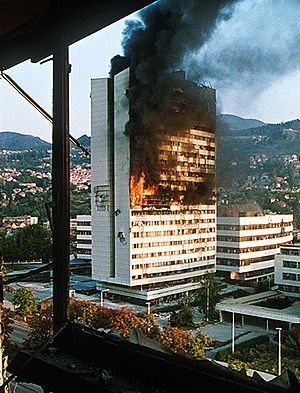 The Siege of Sarajevo is the longest siege of a capital city in the history of modern warfare.[4] Serb forces of the Republika Srpska and the Yugoslav People's Army besieged Sarajevo, the capital city of Bosnia and Herzegovina, from 5 April 1992 to 29 February 1996 during the Bosnian War. The siege lasted three times longer than the Siege of Stalingrad and a year longer than the Siege of Leningrad. [5]