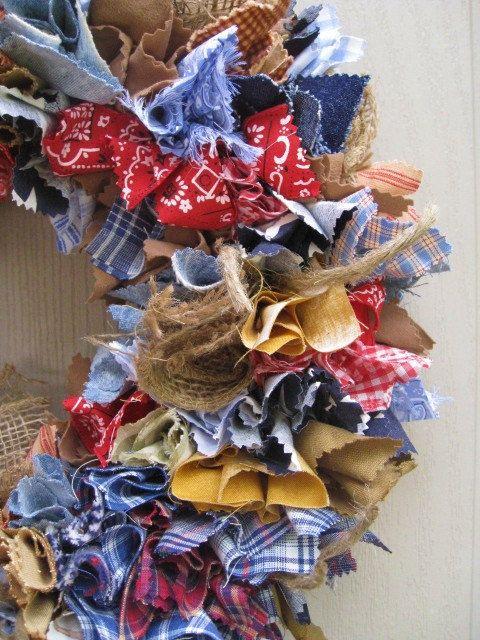 Rag Wreath, Blue Jeans Denim Burlap Bandana Door Wreath