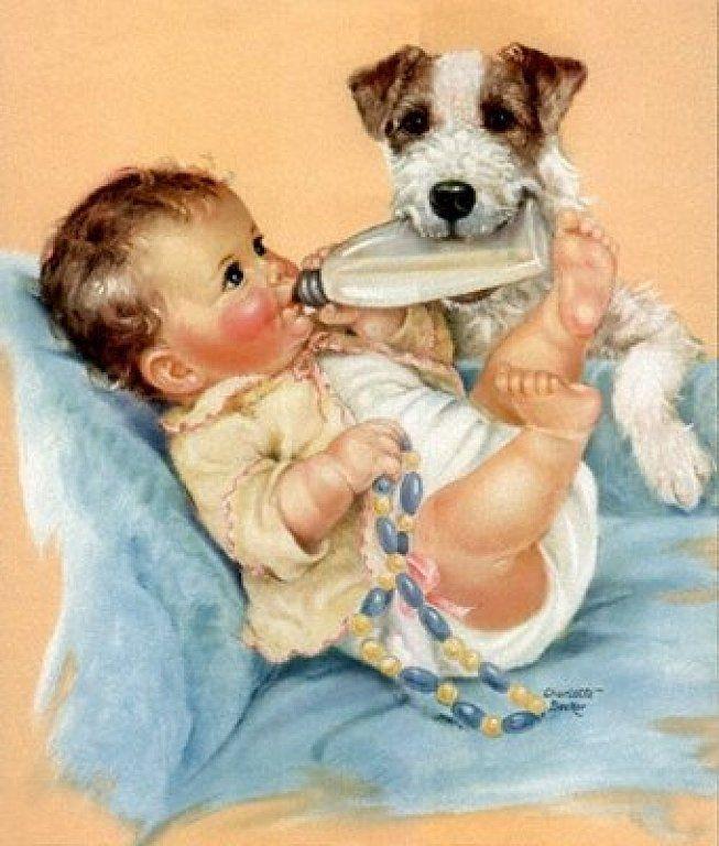 Открытки с новорожденными щенятами