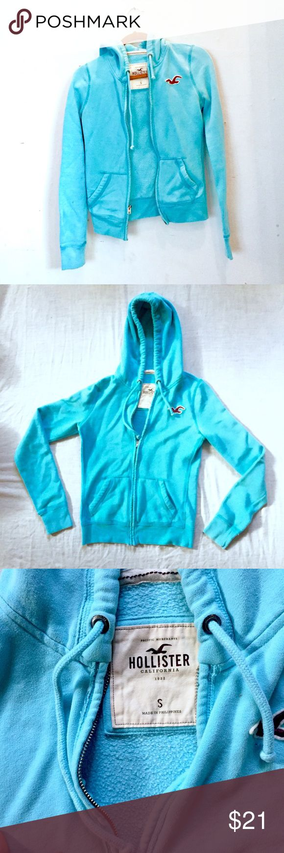 Baby Blue Hollister Jacket This Hollister jacket is a size small in juniors & in good used condition. It zips up and there's also a hood. There a few discolorations as shown in the pictures but otherwise this is a comfy jacket! Hollister Jackets & Coats