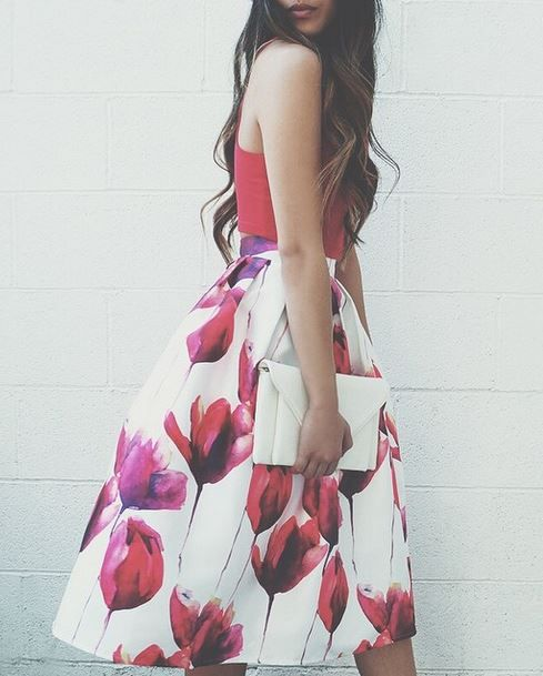 Fragrance of Flowers Floral Print Midi Skirt at Lulu's - Trendslove
