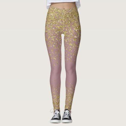 Rose & Gold Shiny Leggings - glitter glamour brilliance sparkle design idea diy elegant