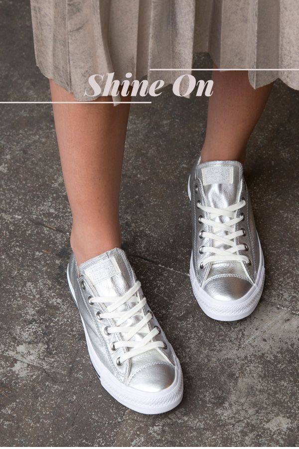 Women's Shoes Style - The Metallic Trainer, shop the new trend of metallics at My Fashion Supermarket - Puma Glitter , Converse Metallic Ox & Vans Old Skool