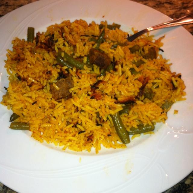 Loubia Polo....yummy Persian dish!