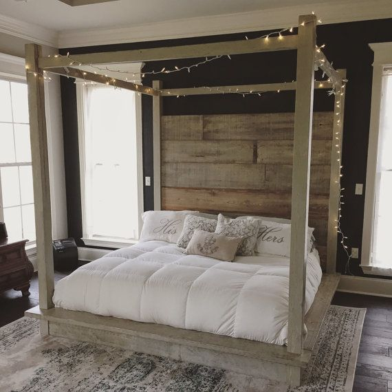 Hey, I found this really awesome Etsy listing at https://www.etsy.com/listing/260871280/reclaimed-wood-canopy-bed-white