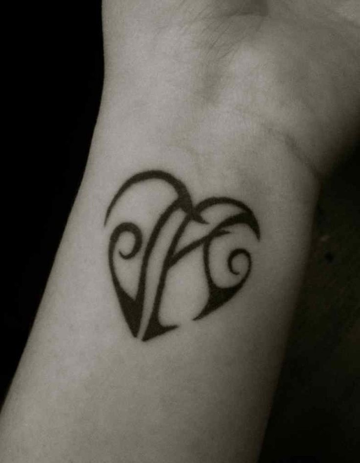 small heart tattoo with initials | small simple tattoo ...