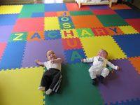 Nursery Room Floor Play Mat Using SoftTiles Flower Mats In Pink, Lime, And  White  D106