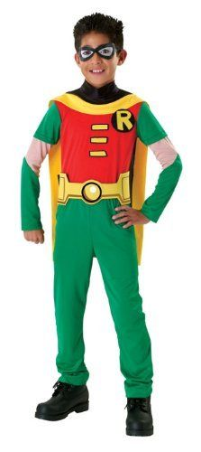 Teen Titans Child's Robin Costume, Small by Rubies. $18.83. From the Manufacturer                Robin, from Teen Titans, is here to save the day. Jumpsuit with attached cape and belt plus mask                                    Product Description                This Child Teen Titans Robin Costume will make your child feel like just like the real Teen Titans Robin! Teen Titan Robin costume includes eye mask, jumpsuit with attached cape and belt. It comes in different sizes....