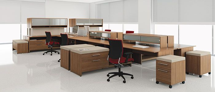 Global's Princeton Line: A modern, European, minimalist style of office furniture. Can come in many configurations and colors.