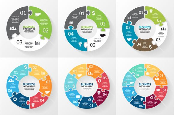 Circle puzzle infographics set by theseamuss on Creative Market
