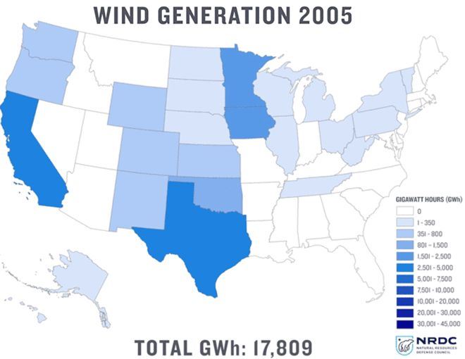 Growth Of Wind Generation In The Us 2005 2015