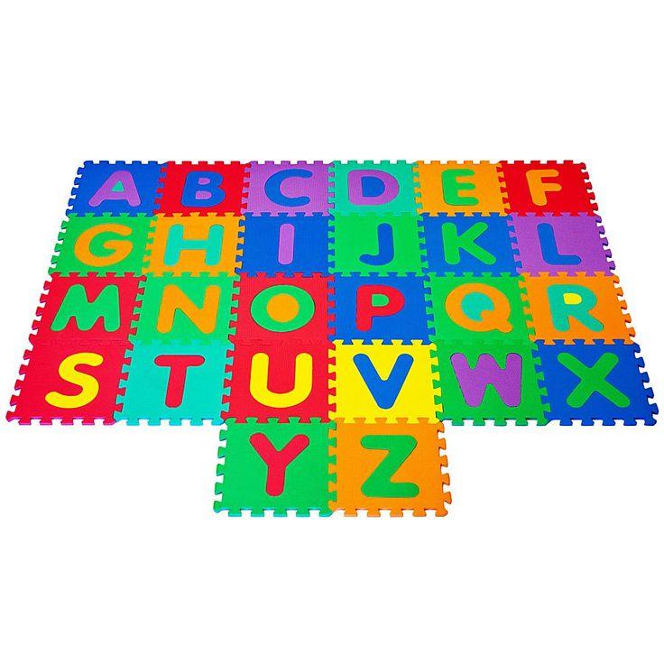 Interlocking Foam Tile Play Mat With Letters By Hey Play Walmart Com Kids Foam Floor Interlocking Foam Tiles Foam Tiles