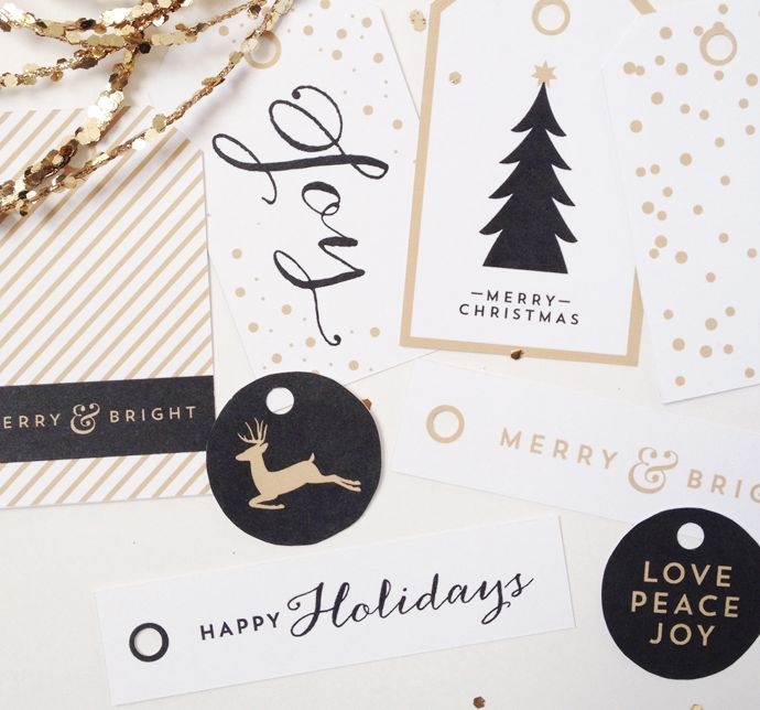 Free Printable Gift Tags: These classy gold, white and black Christmas Gift Tag Printables are brought to you courtesy of Creative Index Blog.