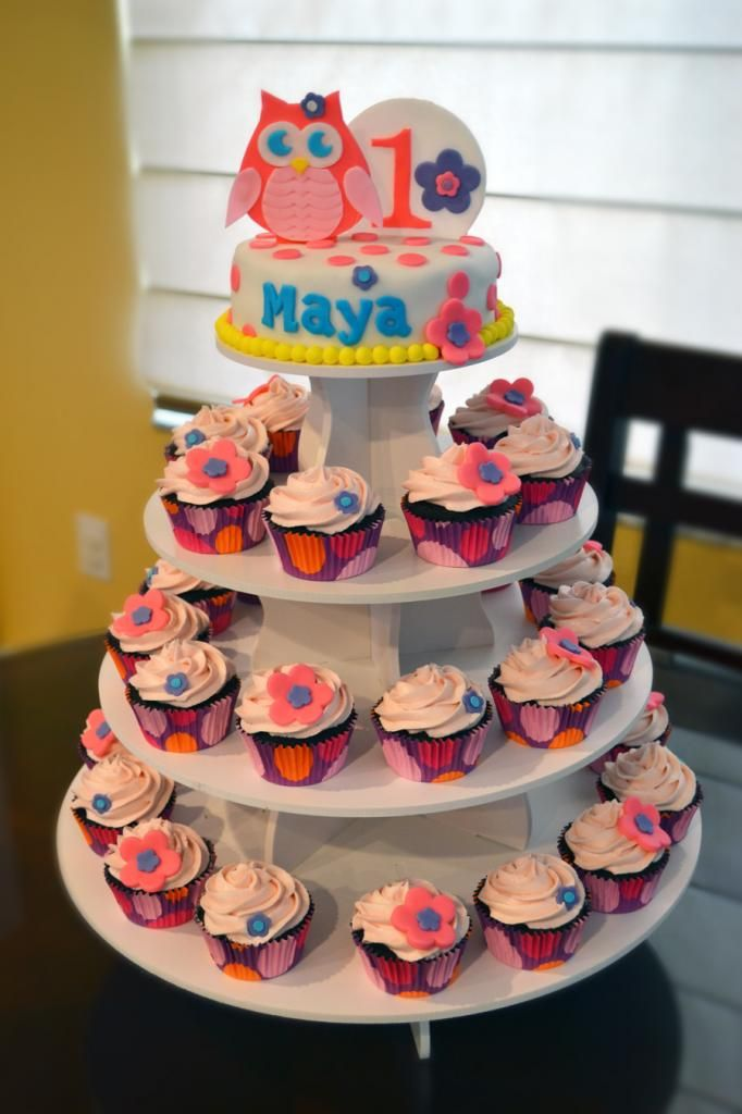 Owl First Birthday Cupcake Tower...could do lion and lamb at the top