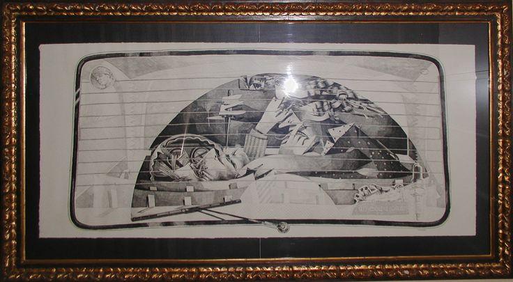 """84+I,b"", 1984.                                                                                       Obra gráfica. Edición: 2/50.                                                             Marco: 72 x 130 x 3 cm.                                                                                   Mancha:  50 x 110 cm."