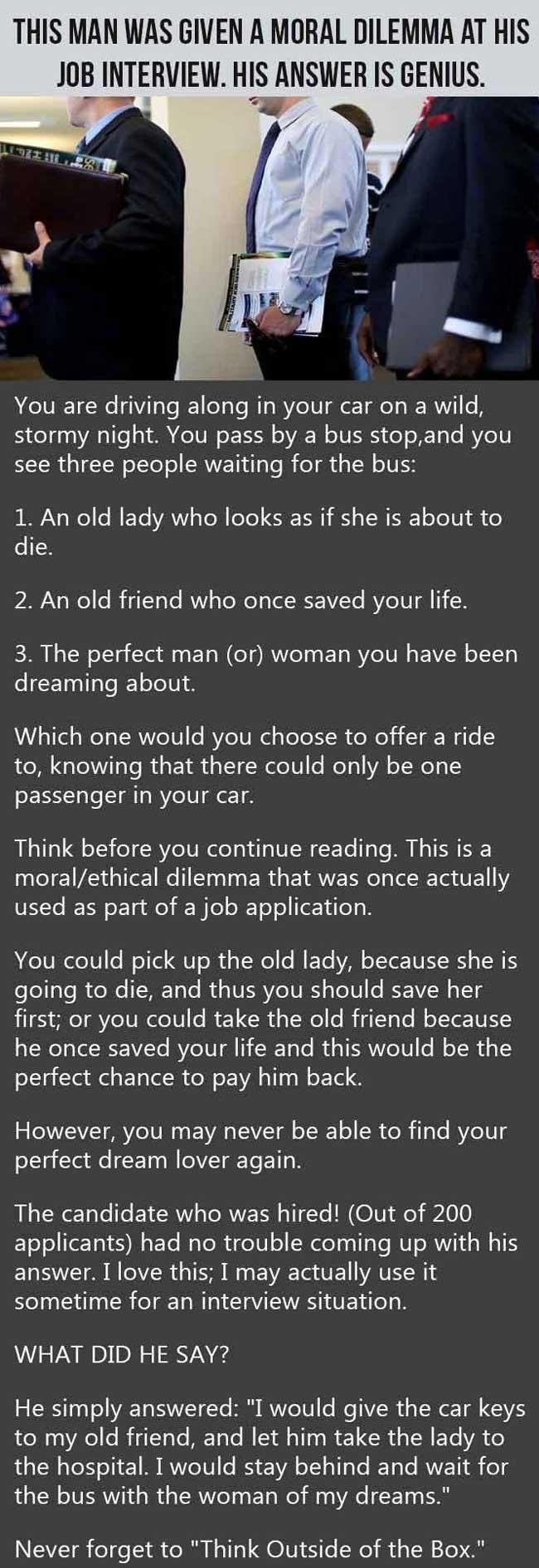 A moral dilemma