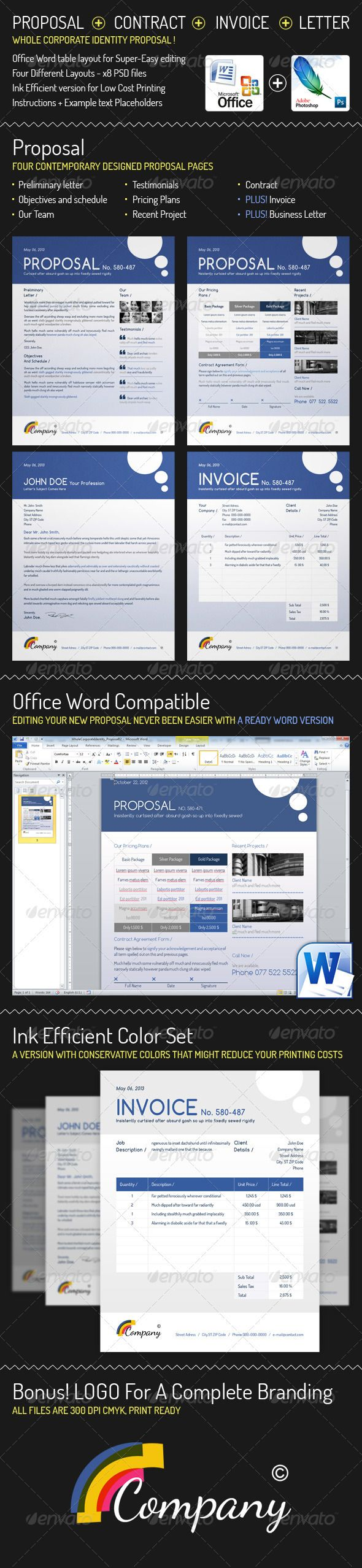 Whole Corporate Identity Proposal+ Invoice+ Letter #GraphicRiver A full generic business Proposal Template + Invoice +