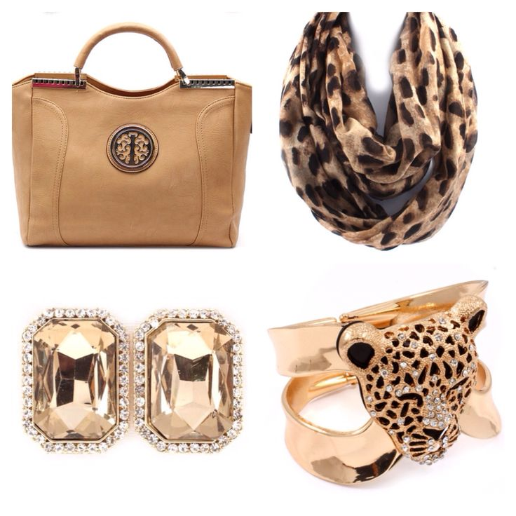 Perfect way to dress up your fav jeans! Téa & Elle Nature Tote, Go Wild Scarf, Tiger Cuff & Bling Earrings