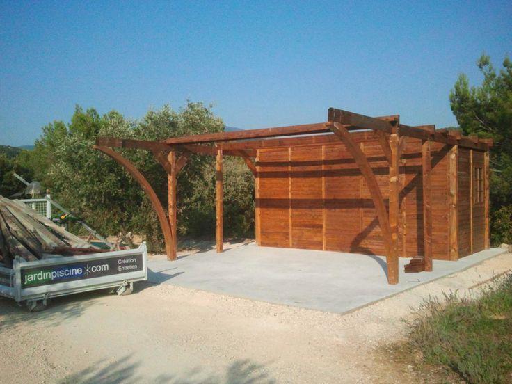carpot et abris voiture en construction  sur chape béton 45m² réalisation :jardinpiscine.com