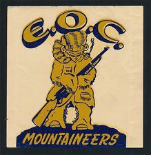 Eastern Oregon College _RARE_ ORIG 1950's Decal vtg pre EOU! Monty Moutaineers