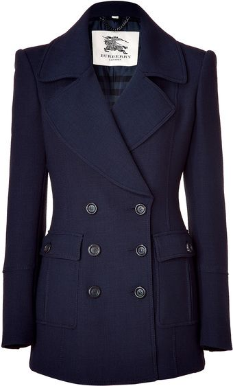 BURBERRY Navy Addiscombe Double-breasted Short Coat   dressmesweetiedarling