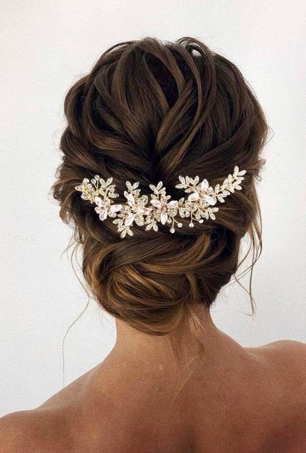 Elegant Wedding Hair Ideas In 2020 Rose Gold Hair Accessories Gold Wedding Hair Piece Wedding Hair Accessories