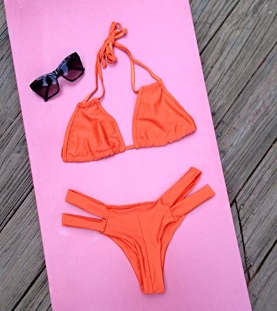 Sunny Orange Push Up Strappy Bikini