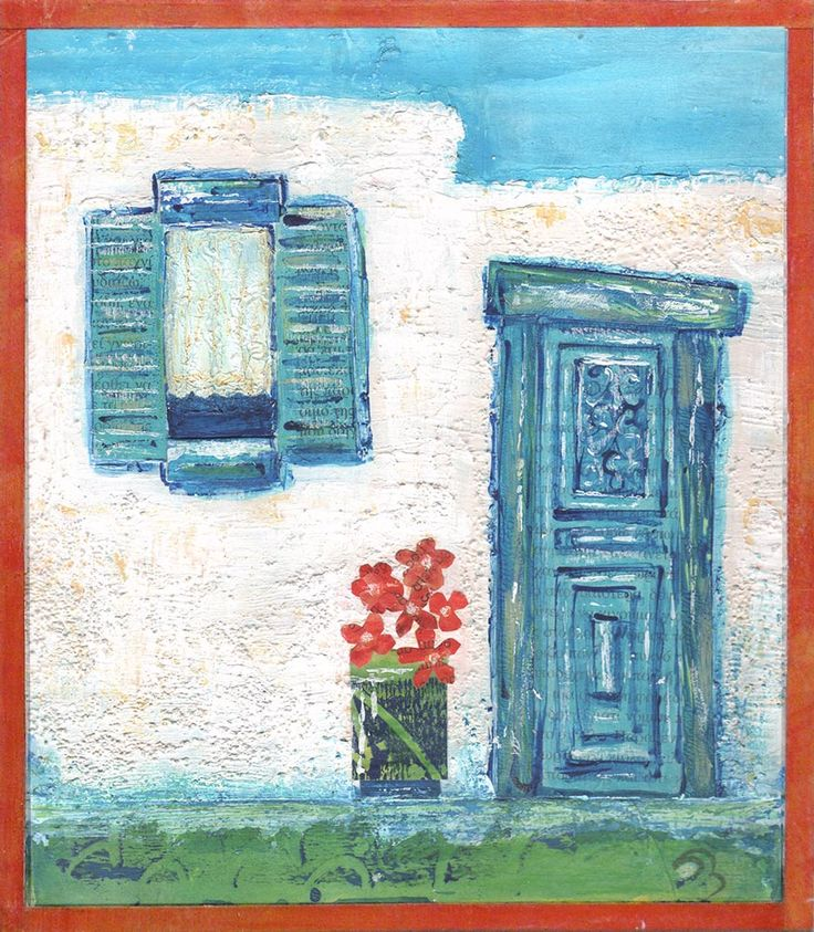 Village Doorway - mixed media art inspired by Greece by Gill Tomlinson.