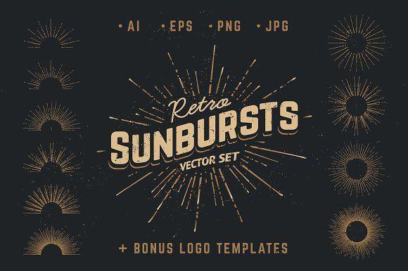 Retro Sunbursts by Vecster on @creativemarket