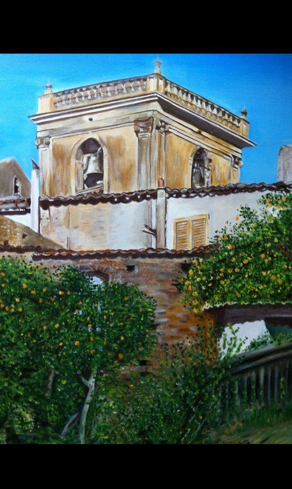 Il campanile, olio su tela 50x70