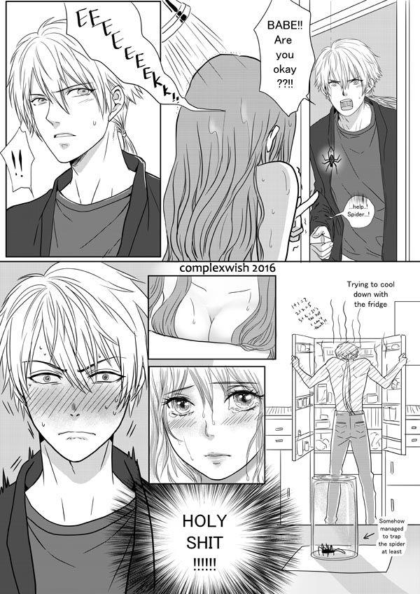 """complexwish: """" Zen the Knight is on spider duty but he may not last until the end…? Hang in there Zen~! Read from left to right please. Zen taking a shower: here MC walks into Jumin: here Jumin walks into MC: here MC walks into 707 after shower..."""