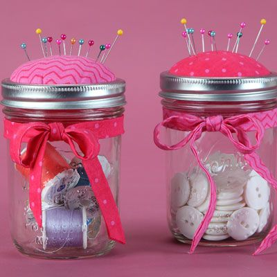 Pin cushion mason jar