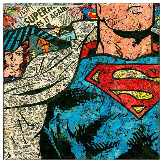 Superman Comic Collage  Giclee Print por ComicReliefOriginals