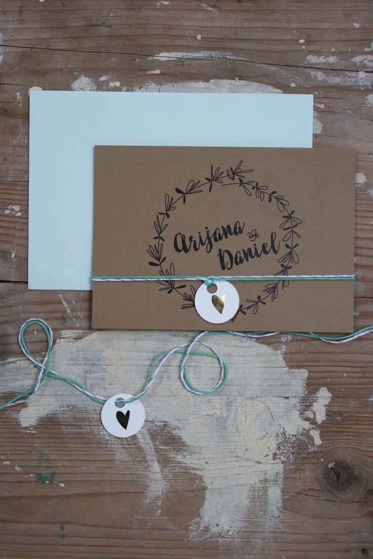 """HOCHZEITSPAPETERIE-SET """"DOODLES & KRAFTPAPIER"""" Hochzeit, Einladung, Hochzeitseinladung, Mint, Kraftpapier, Pappe, Doodles by www.zartmint.de"""