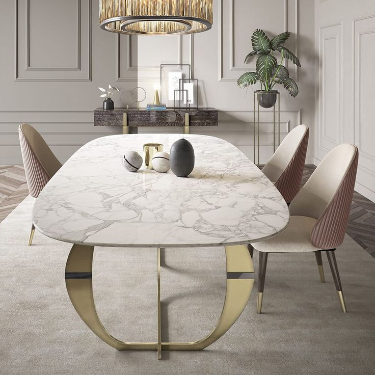 126 Custom Luxury Dining Room Interior Designs: Italian Designer Contemporary Marble 6 Seat Dining Set