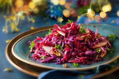 Salade de chou rouge aux pommes et noix